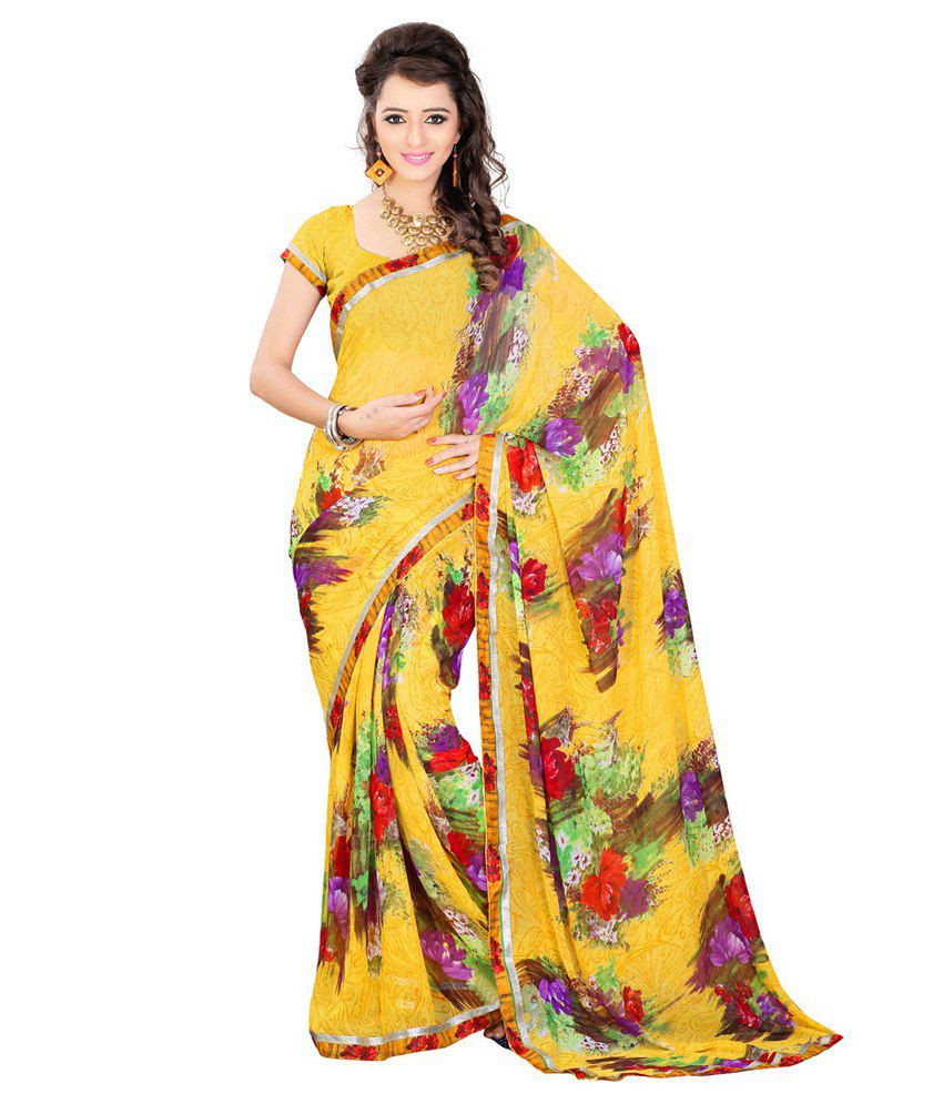 Sixmeter Yellow Pure Georgette Saree