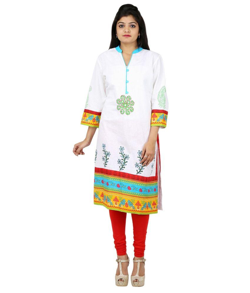 Collectible India White Straight Cotton Kurti