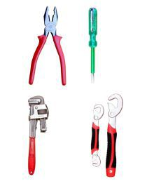 Taparia Tool Kit-Set Of Plier & Taparia Line Tester & Venus Pipe Wrench 14 Inch & Universal Wrench