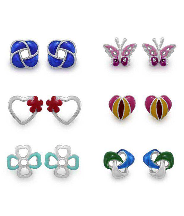 925 Silver 92.5 Sterling Silver Cubic zirconia Earrings Combo