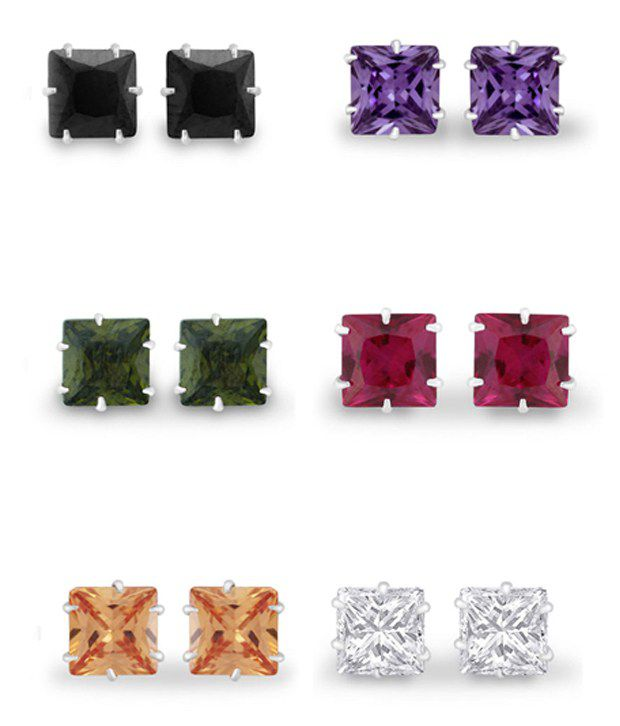 925 Silver 92.5 Sterling Silver Cubic zirconia Earrings Combo - Pack of 6