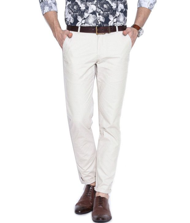 Hubberholme Off-White Regular Fit Chinos
