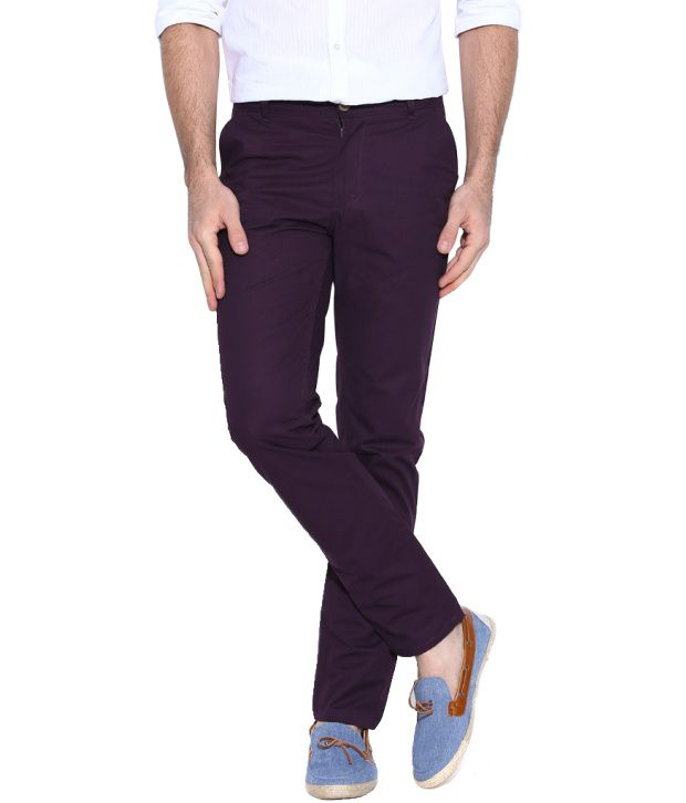 Hubberholme Purple Regular Fit Chinos