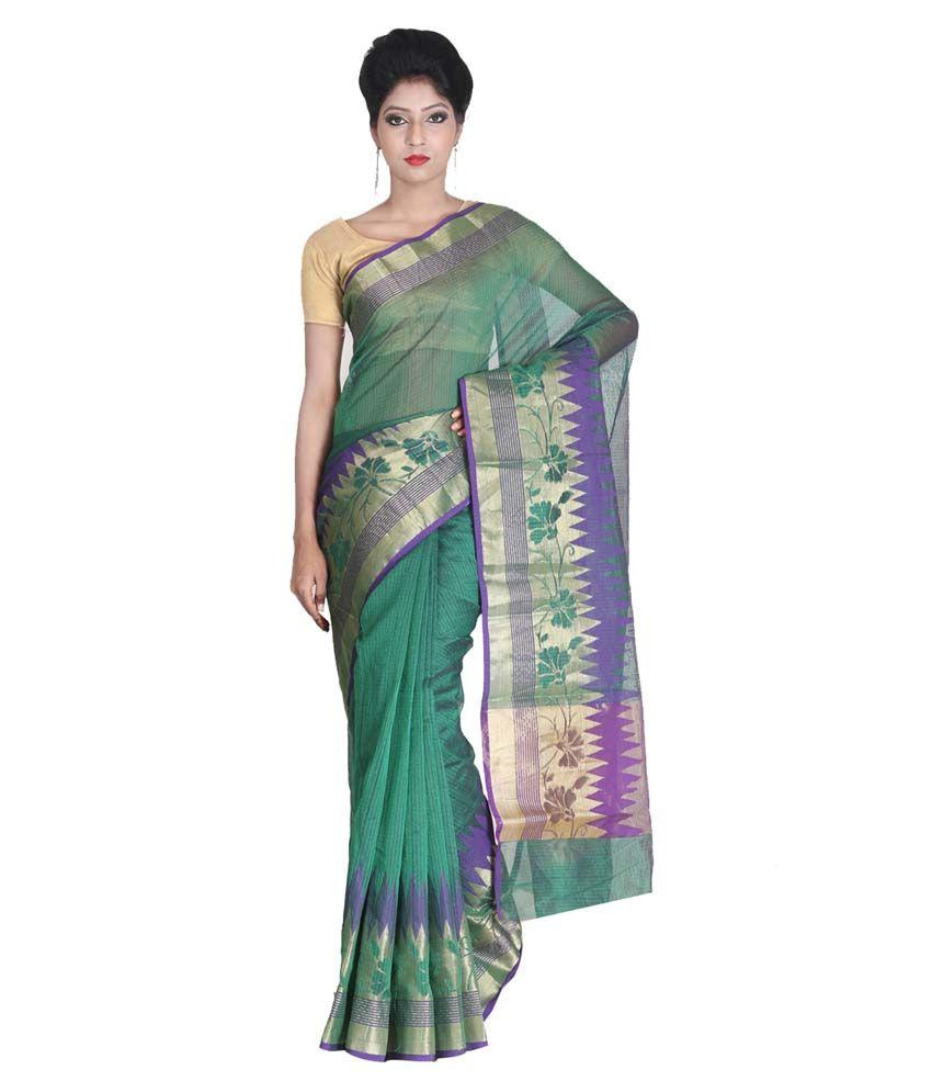 SSPK Green Cotton Silk Saree