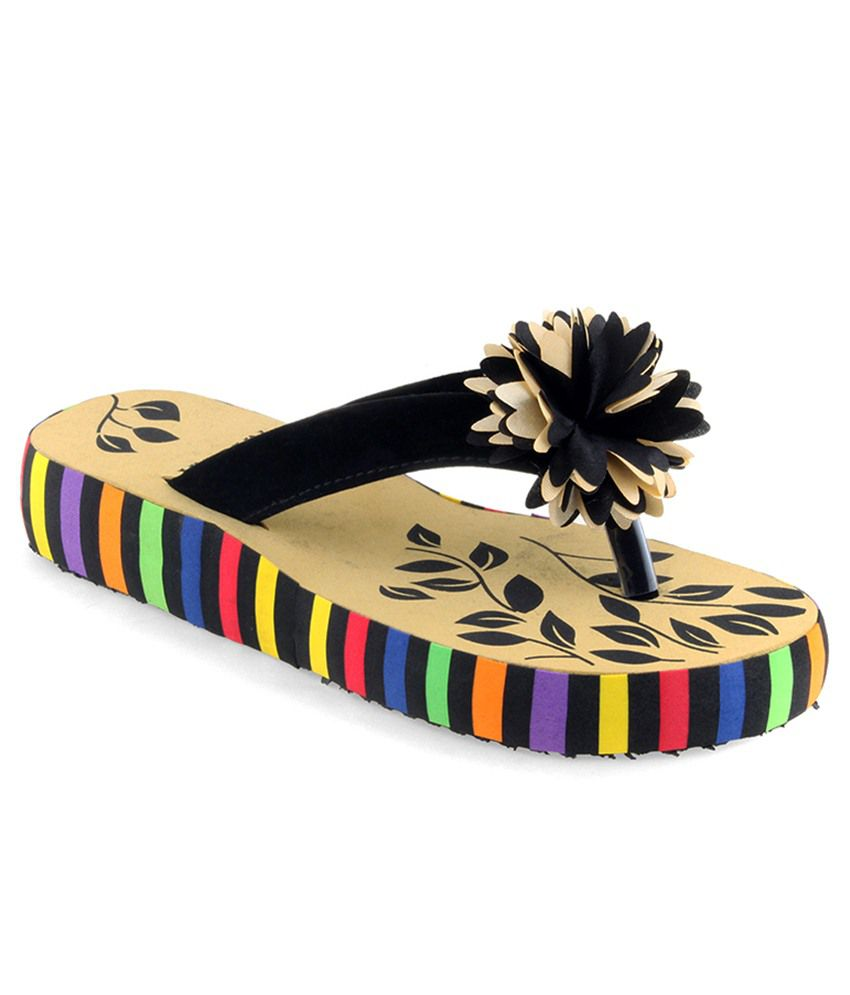 Shoe Lab Black Slippers & Flip Flops