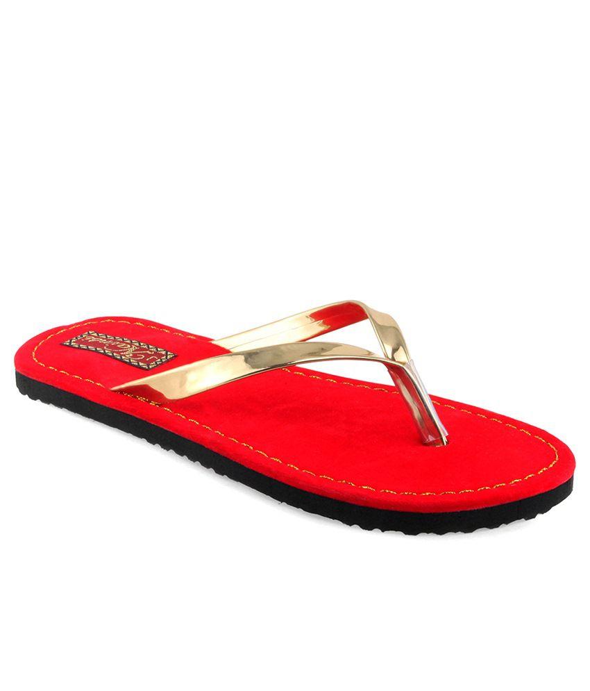 Shoe Lab Red Slippers & Flip Flops