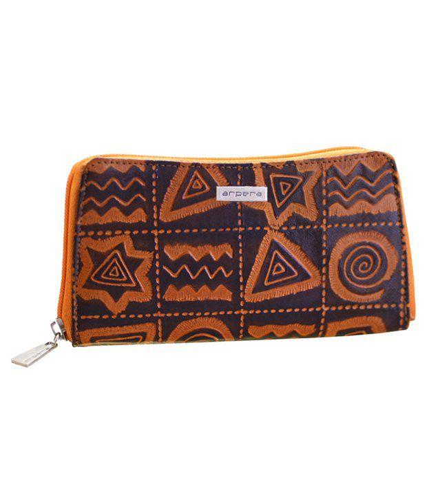 Arpera Brown and Orange Leather Long Wallet
