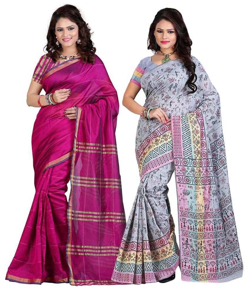 Sareeshop Designer Sarees Gray & Pink Cotton Silk Pack Of 2