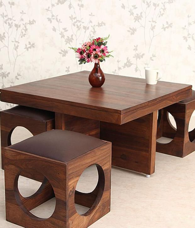 Wondrous Ethnic India Art Solid Wood Coffee Table With 4 Stools Caraccident5 Cool Chair Designs And Ideas Caraccident5Info