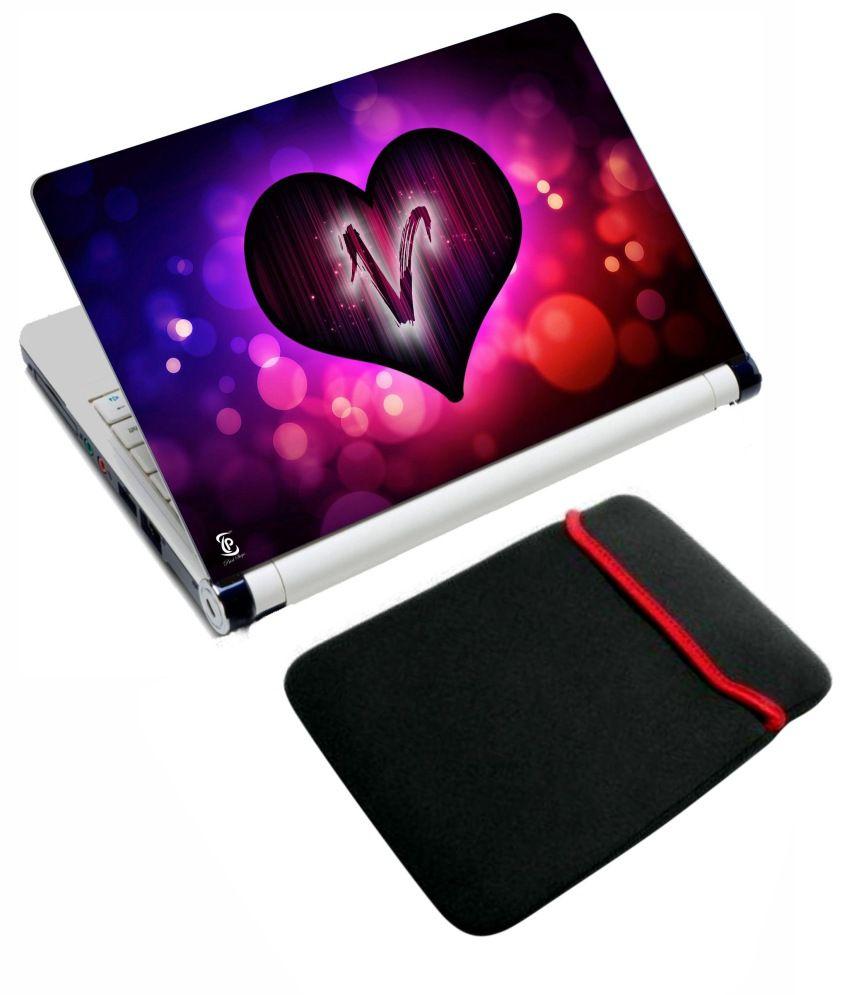 Print Shapes Heart Alphabet V Laptop Skin With Reversible Sleeve