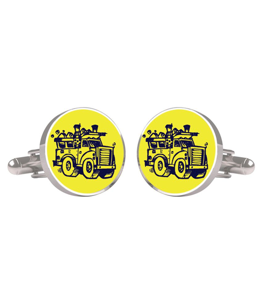 Cuff Tank Yellow Metal Cufflinks For Men