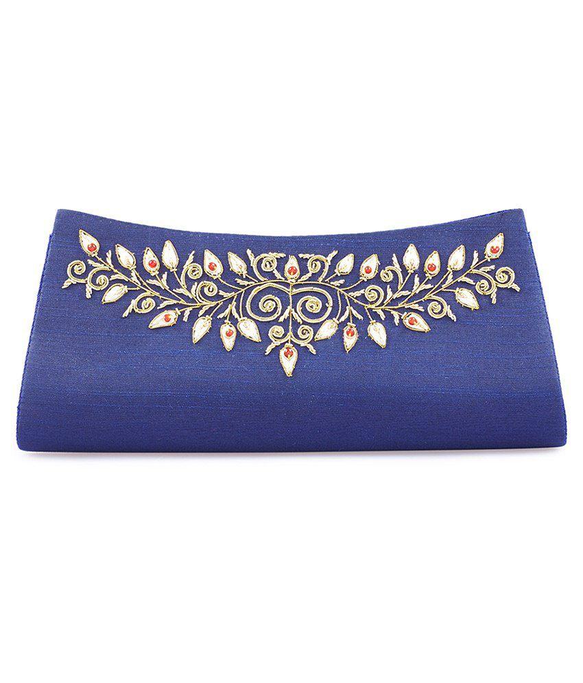 Color Cocktail Blue Fabric Clutch