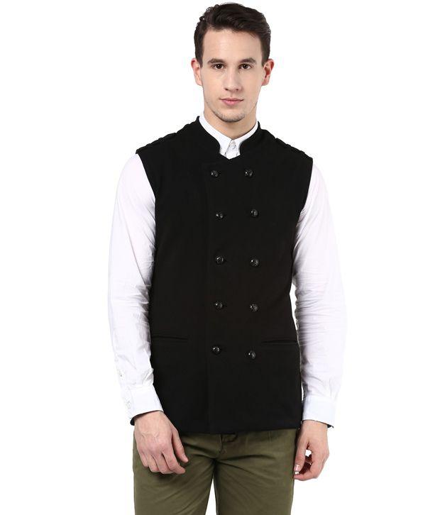Hypernation Black Color Cotton Waistcoat