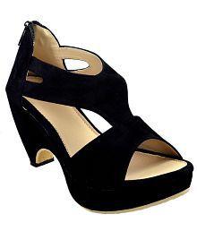Olive Fashion Black Cone Heels
