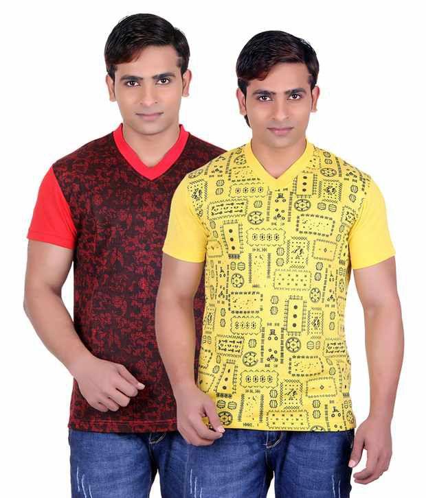 Runn93 Multi Round T Shirts Pack of 2