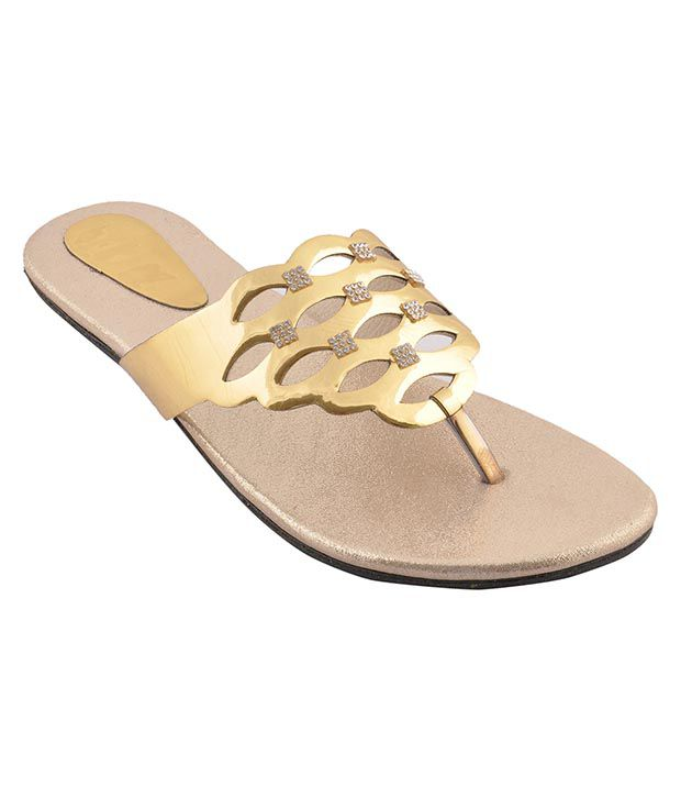 Bootwale Gold Flat Slip-on & Sandal
