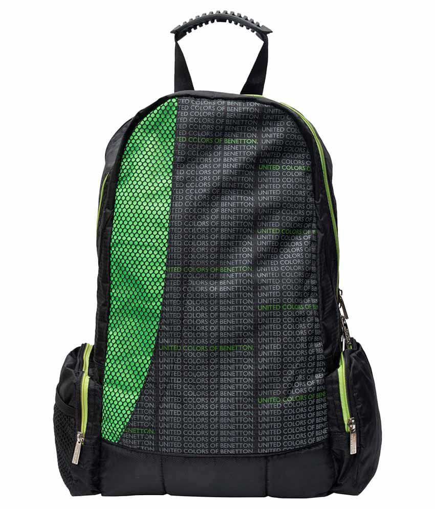 United Colors of Benetton Black and Green Laptop Bag