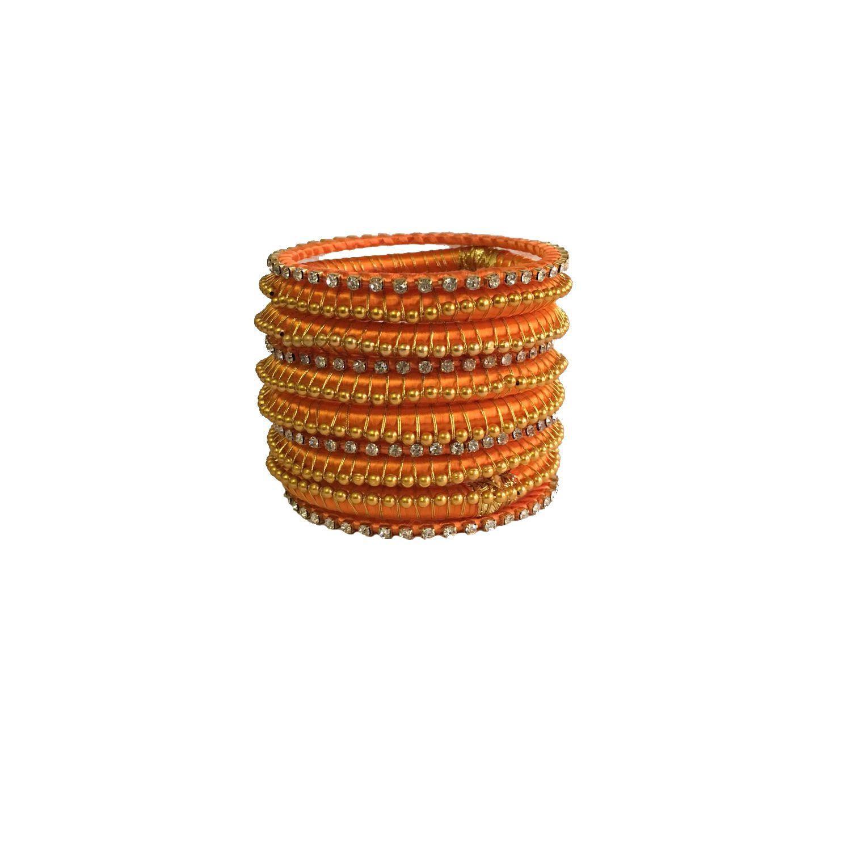 Kuhuk Orange Hand made Bangle Set