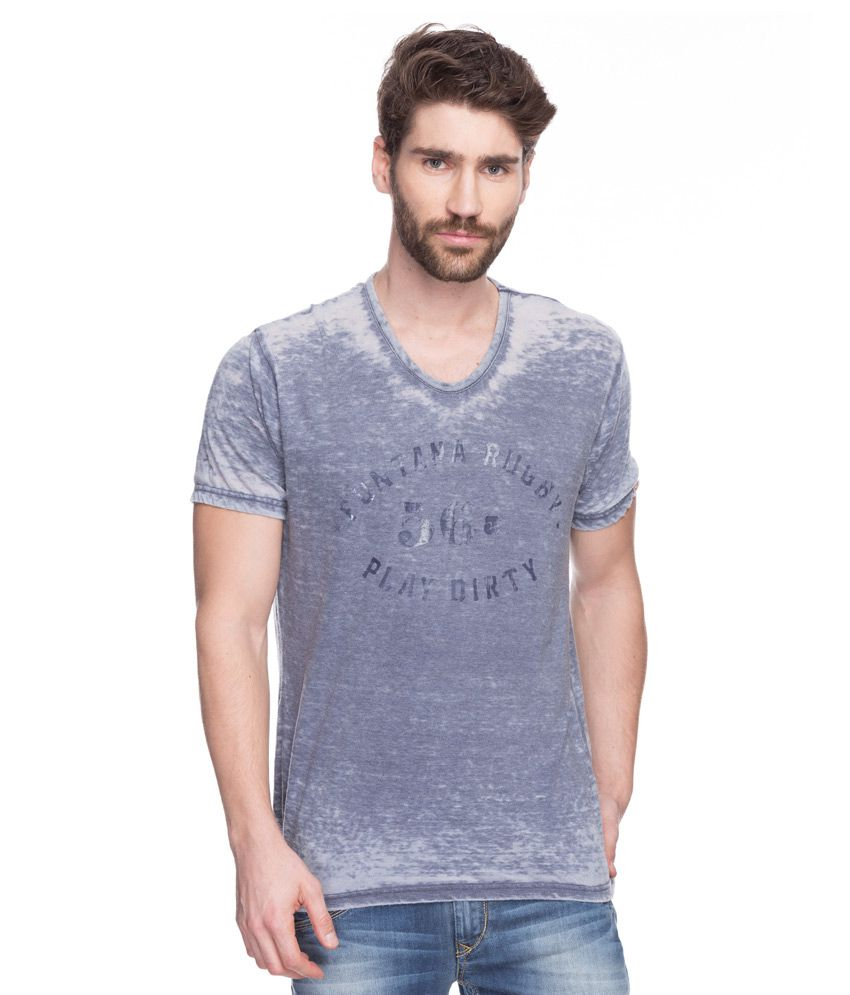 Spykar Gray V-Neck T-Shirt