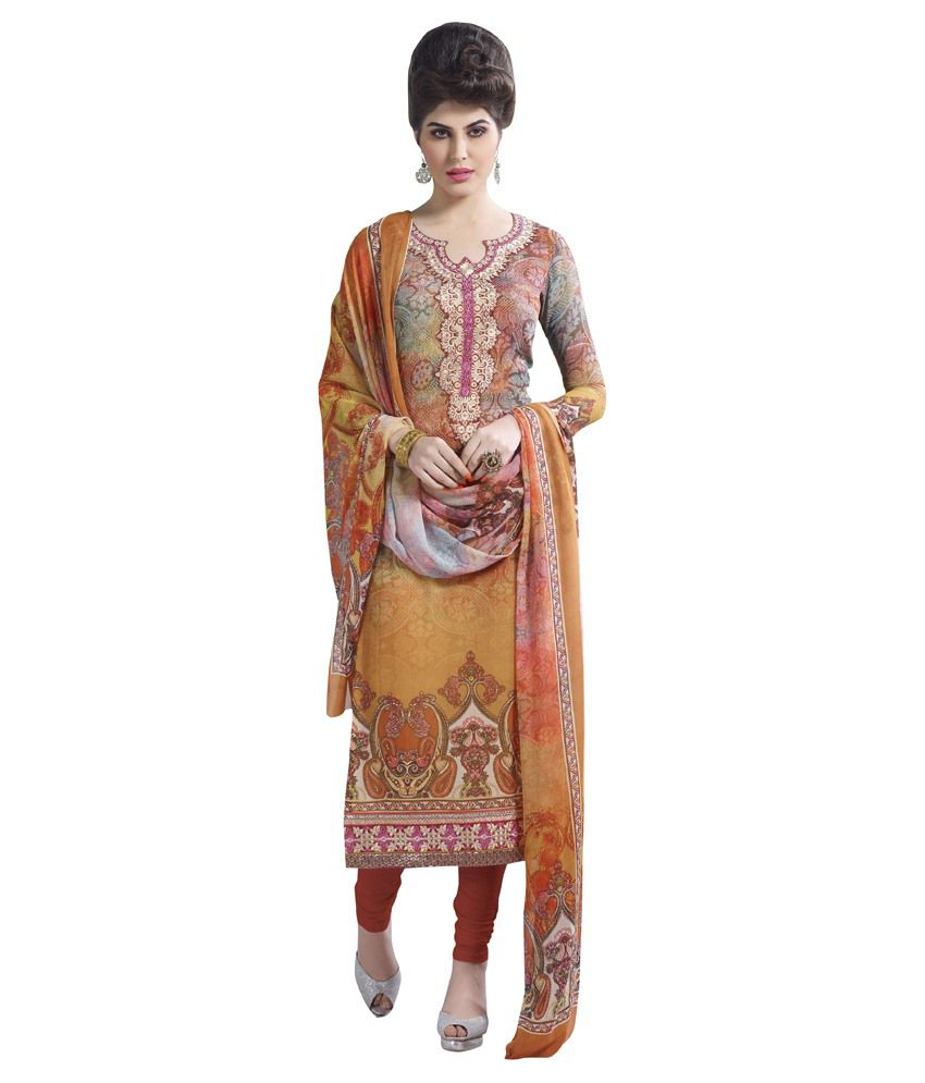 HSR Beige Pure Georgette Stitched Suit