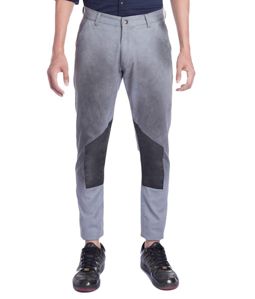 Ovanna Grey Slim Fit Flat Trousers No