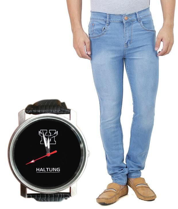 Haltung Faded Streachable Blue Men Denim Slim Fit Jeans With Free Watch