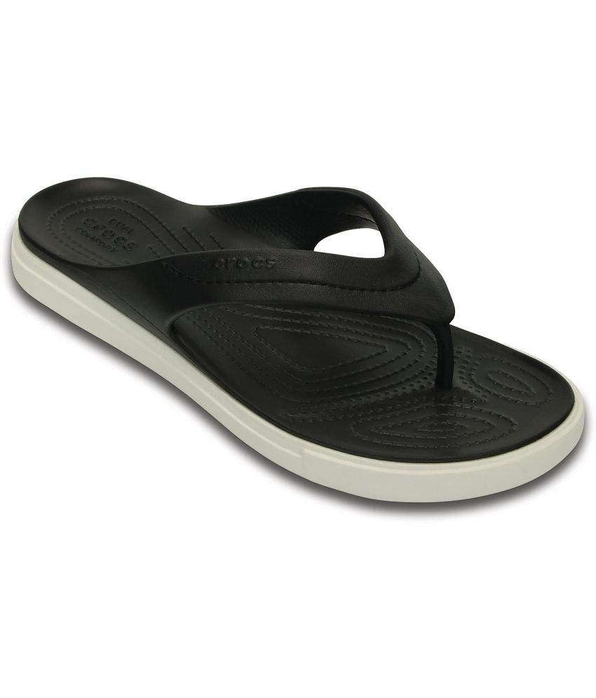 e7531656b Crocs Relaxed Fit Black Flip Flops Price in India- Buy Crocs Relaxed Fit  Black Flip Flops Online at Snapdeal