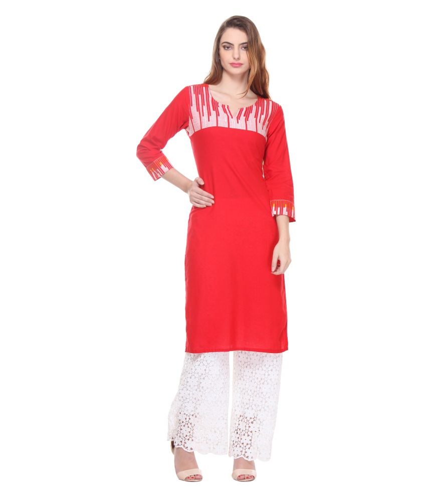 Riti Riwaz Red Straight Cotton Kurti