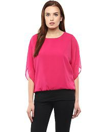Athena Pink Poly Georgette Tops