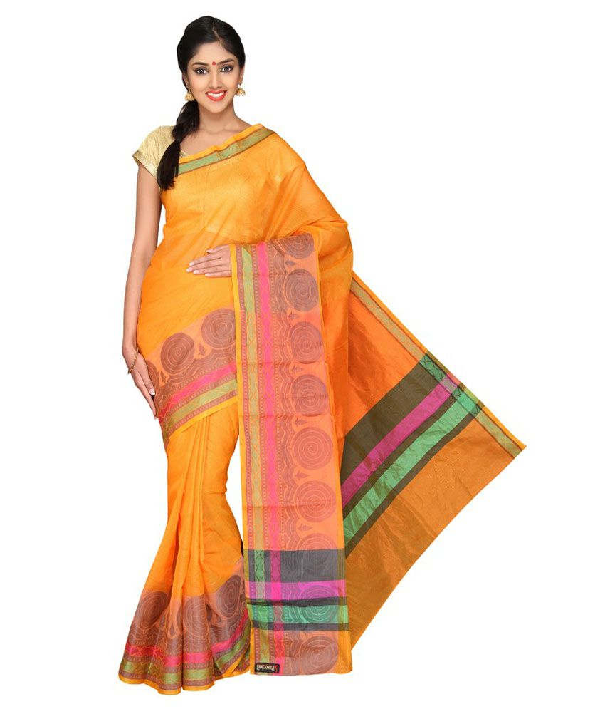 Pavecha's Orange Cotton Silk Saree