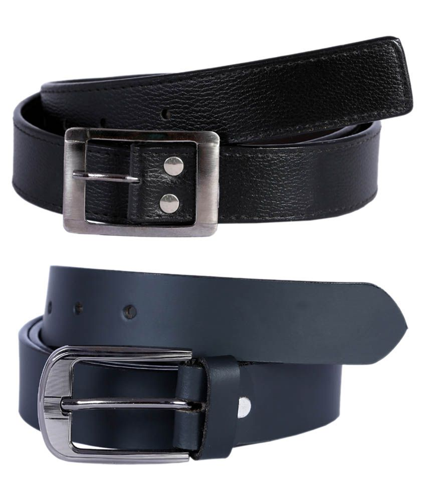 Hardy's Collection Black Leather Casual Belt For Men - Combo Of 2