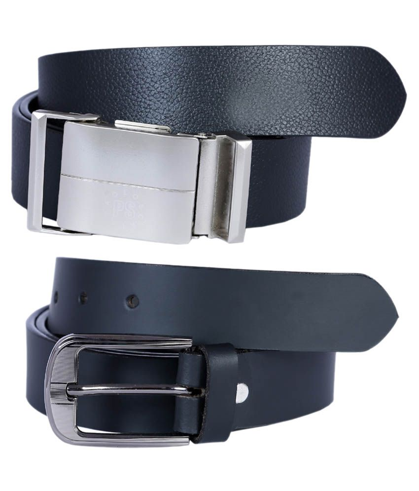 Kritika's World Black Leather Casual Belt For Men - Combo Of 2