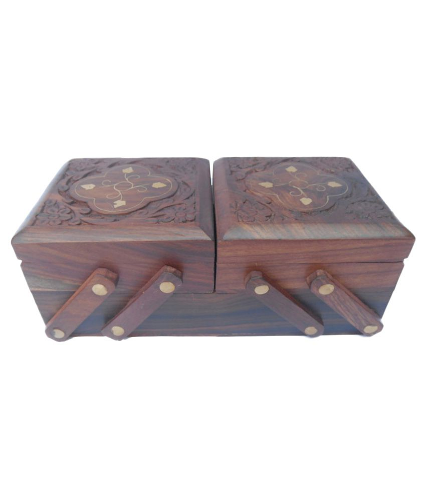 Kakoo Gold Furniture And Interiors Brown Wooden Jewellery Box - Set of 2