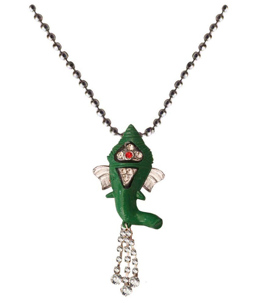 Mens Jewell Green Ganesh  Pendant