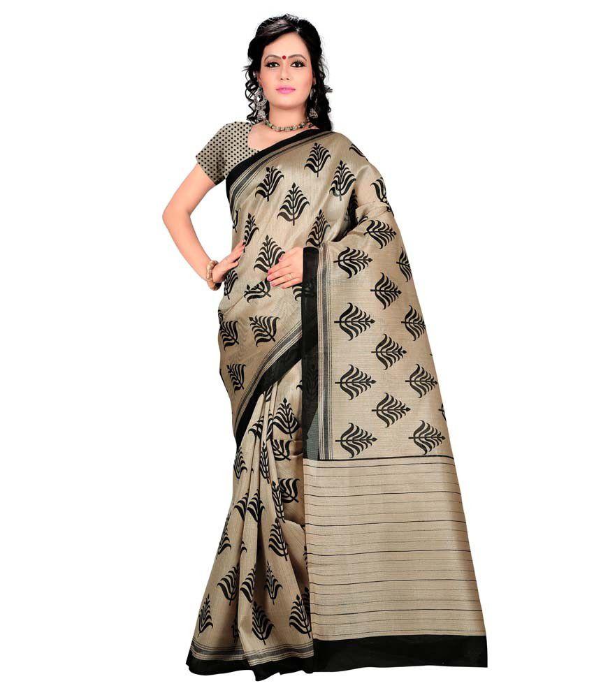 Indian Rag Beige Art Silk Saree