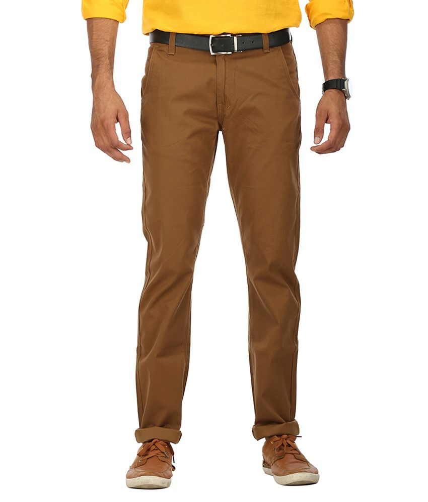 Wear Your Mind Brown Regular Fit Chinos No