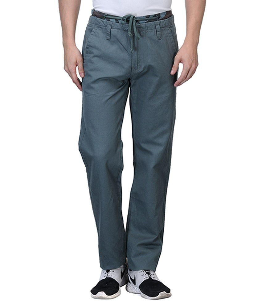 Wear Your Mind Turquoise Regular Fit Chinos No