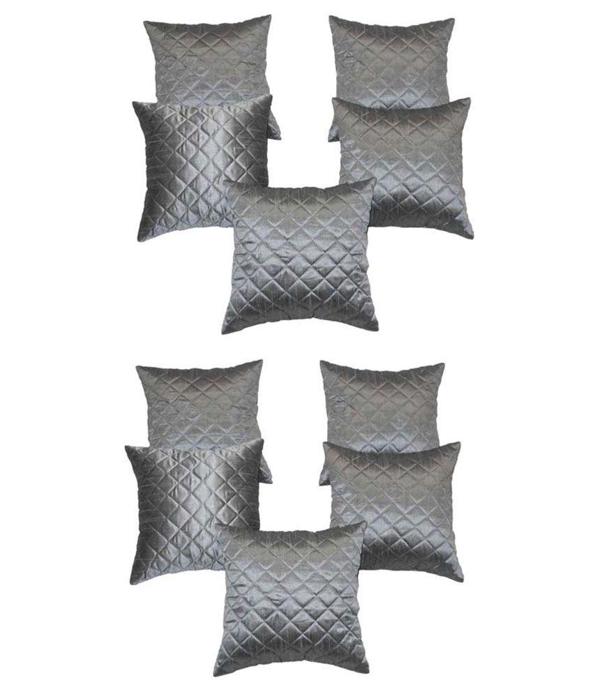 Xarans Silver Checks Silk Cushion Cover Set of 5 - Buy 1 Get 1