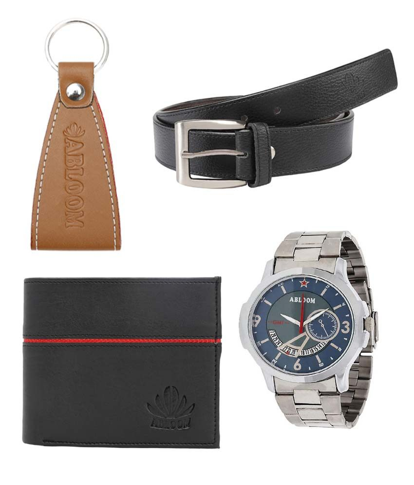 Abloom Black Leather Belt With Wrist Watch, Wallet & Key Chain For Men
