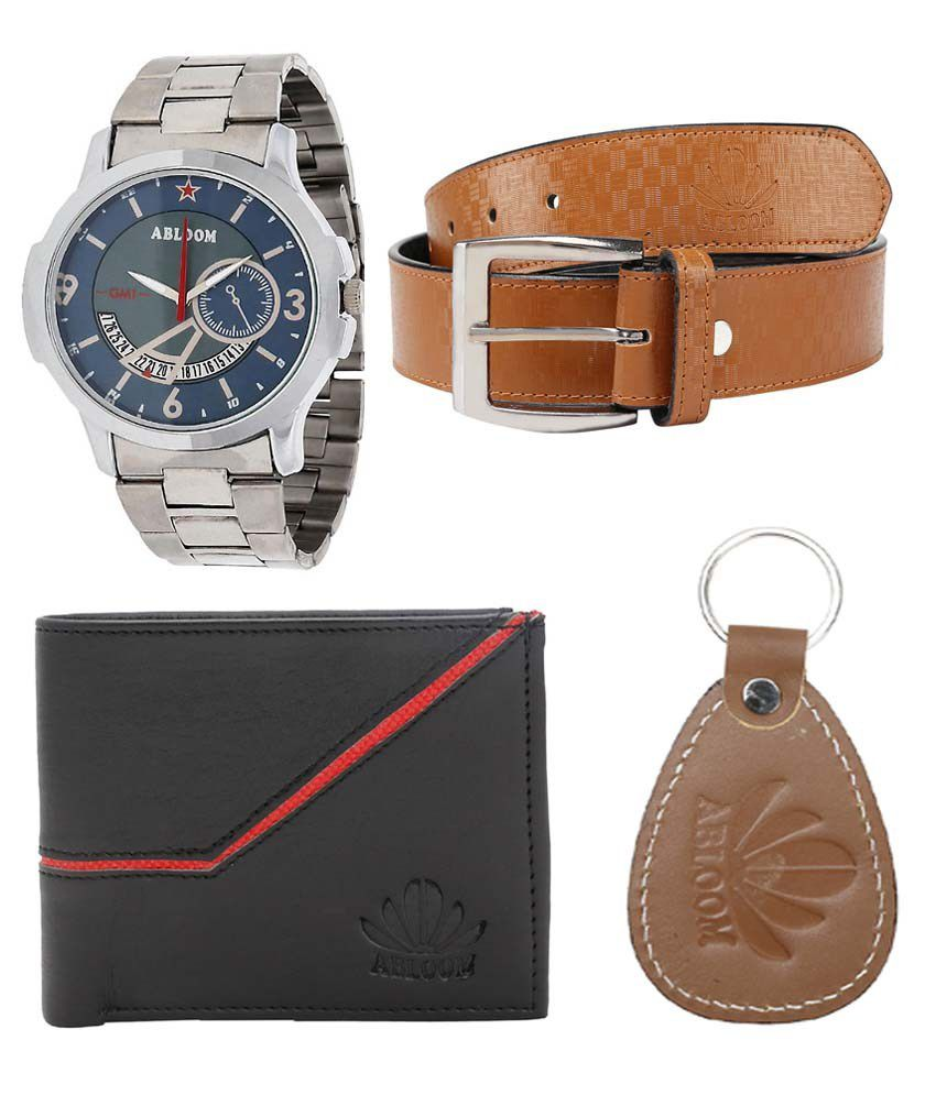 Abloom Brown Leather Belt With Wrist Watch, Wallet & Key Chain For Men
