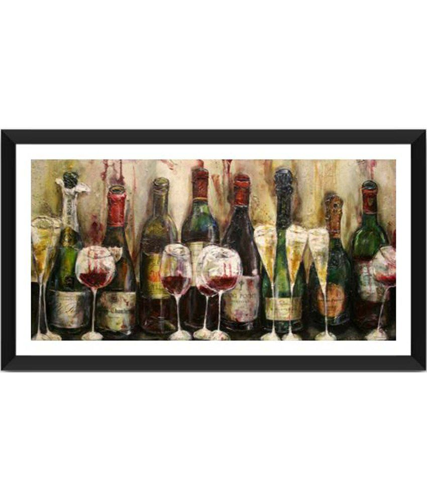 Tallenge Fine Wine And Champagne Bottles Painting With Acrylic Frame