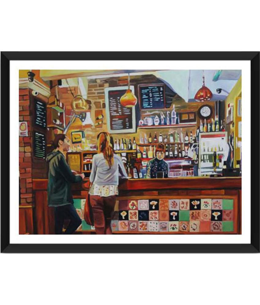 Tallenge Girl Serving Drinks In The Bar Painting With Acrylic Frame
