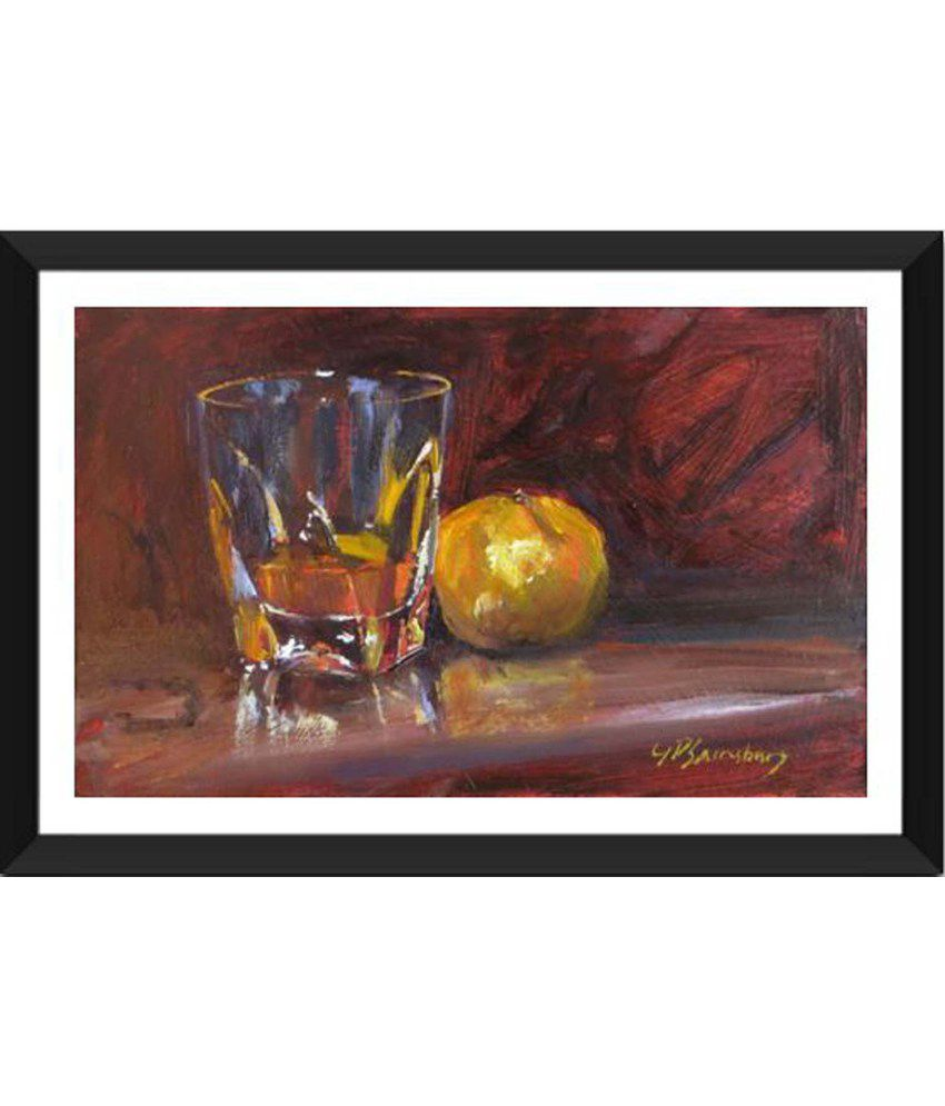 Tallenge Whiskey And Orange Artwork Painting With Acrylic Frame