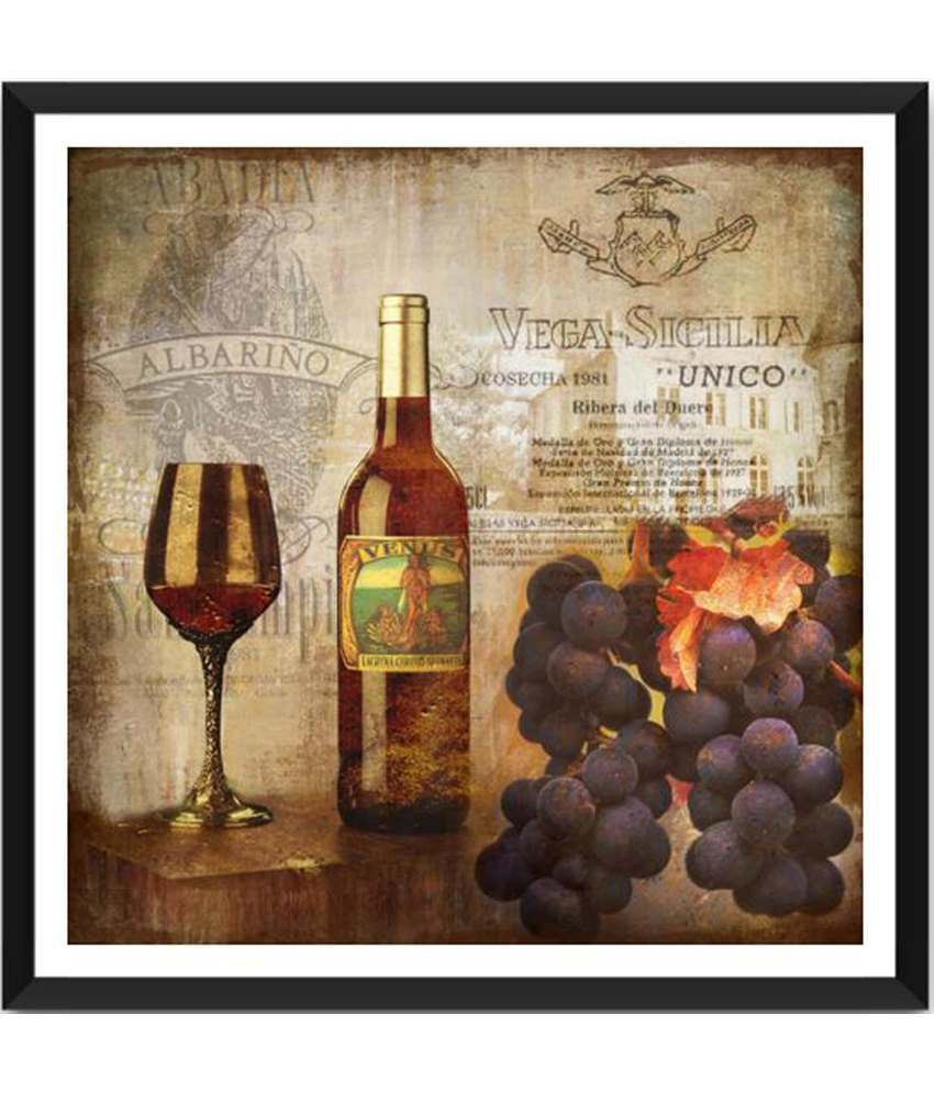 Tallenge Wine And Grapes Vintage Art Painting With Acrylic Frame