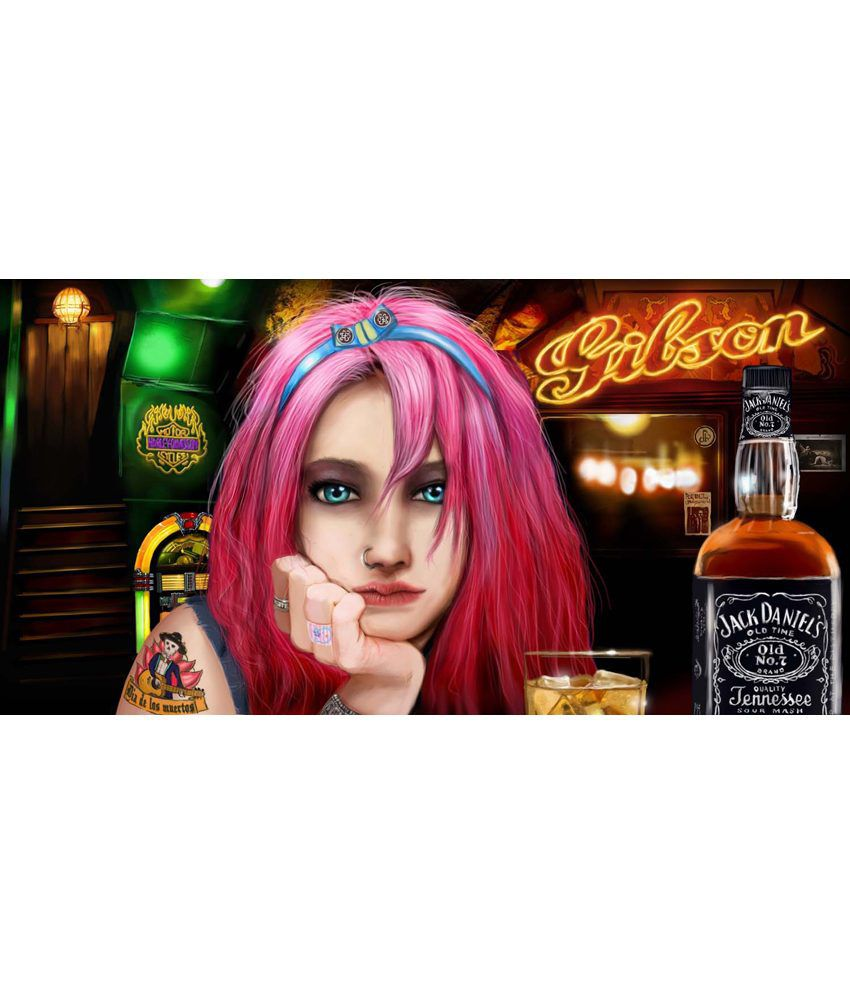 Tallenge Jack Daniel's Girl With Pink Hairs Painting With Wood Frame
