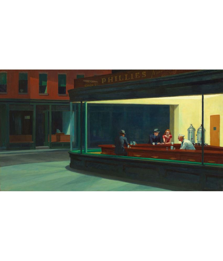Tallenge Nighthawks Painting With Wood Frame
