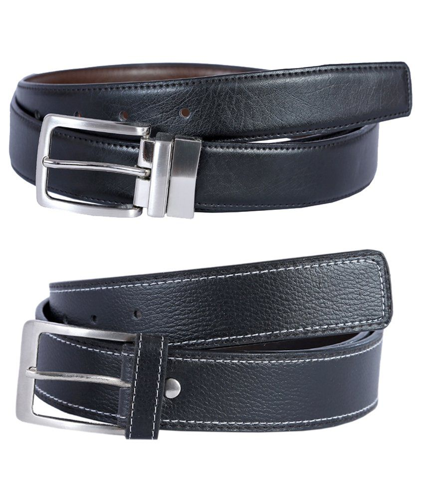 Hardy's Collection Black Leather Belt for Men - Pack of 2