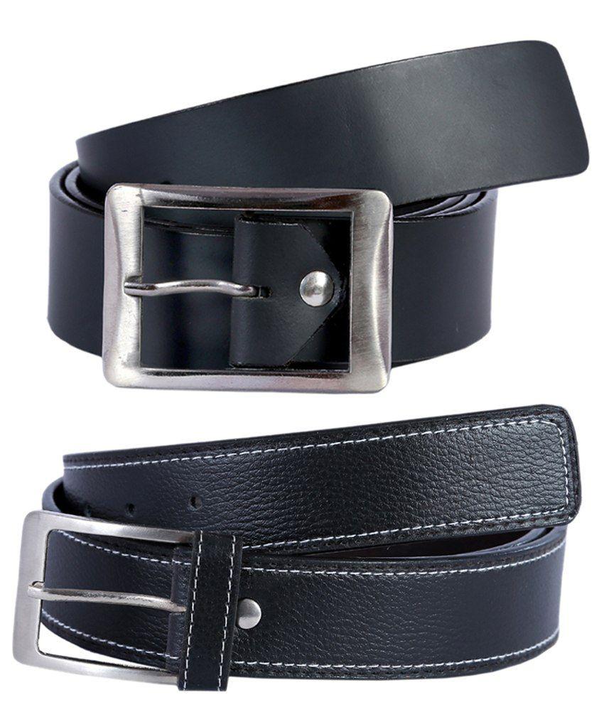 Kritika's World Black Leather Formal Belt- Pack of 2