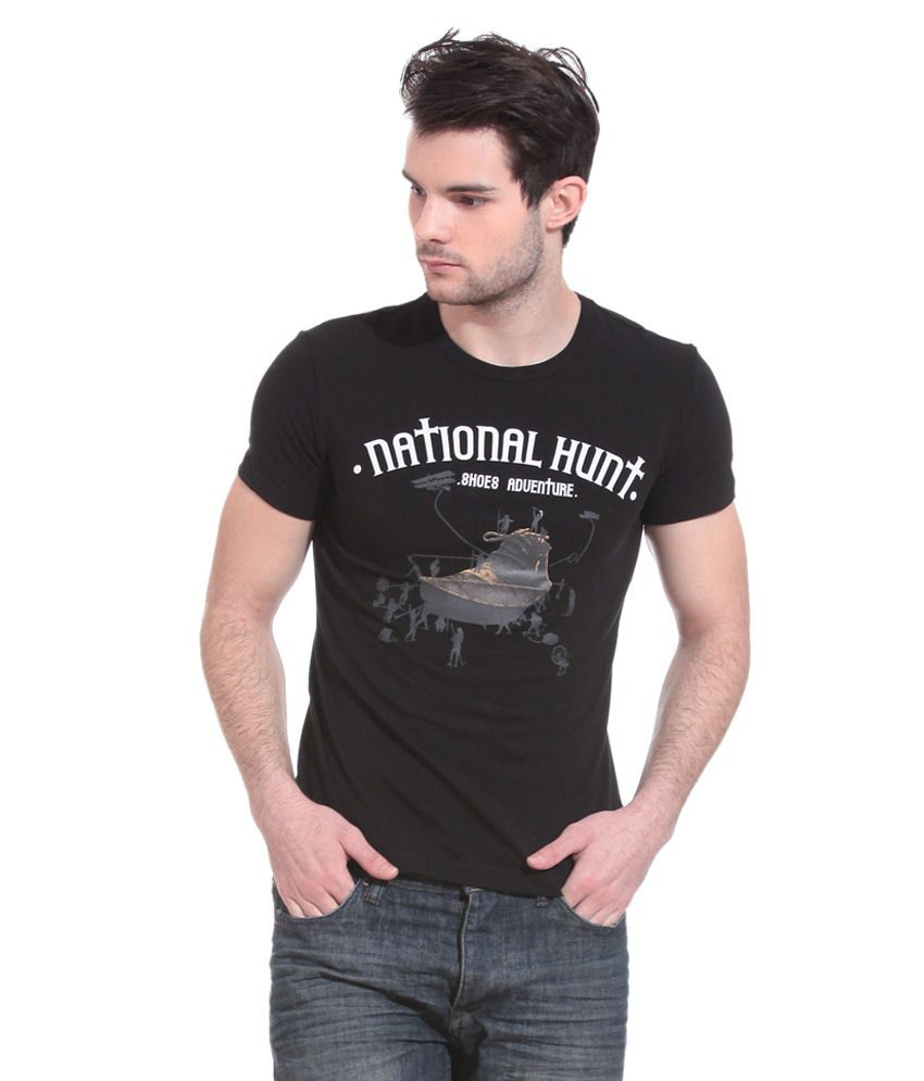 Wild Hawk Black Round T Shirts No