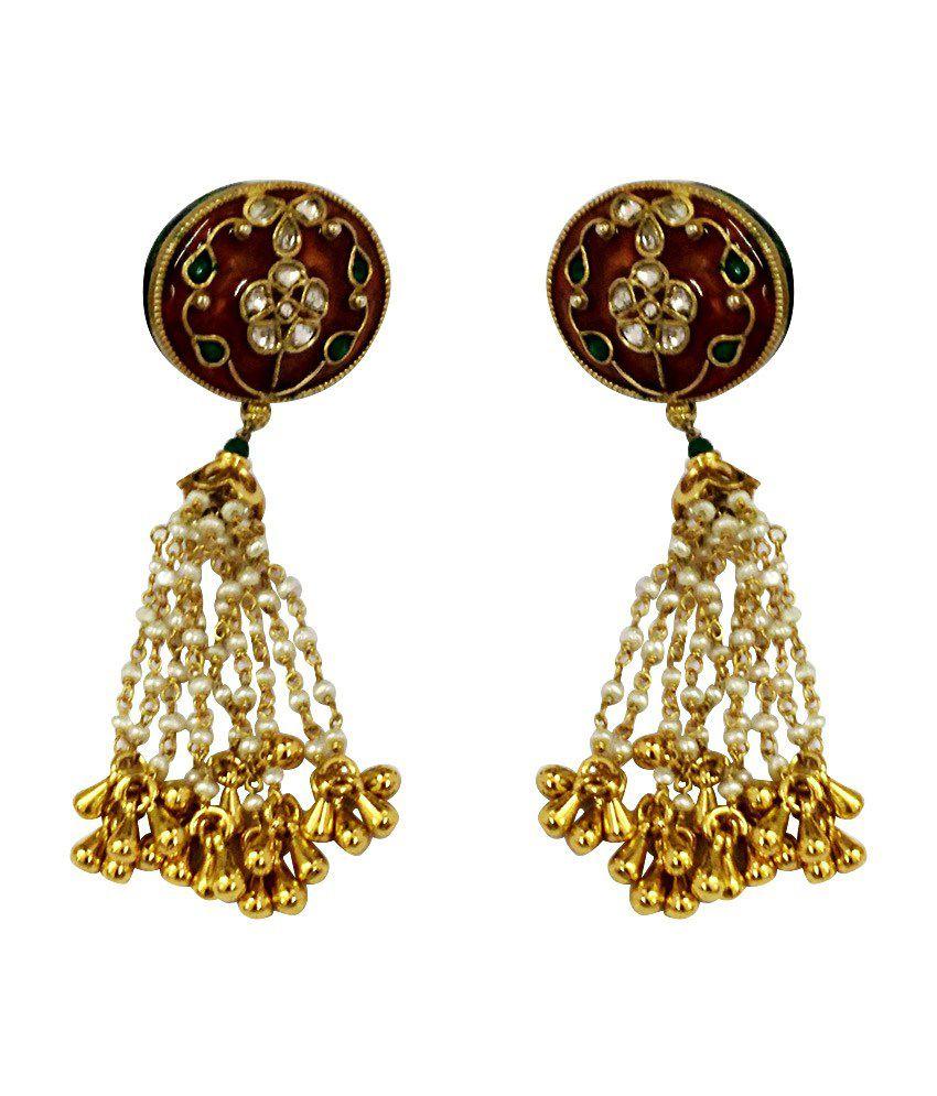 SBJ Golden Silver Alloy Hanging Earrings